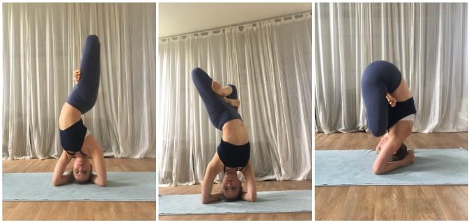 yoga hoofdstand en lotus
