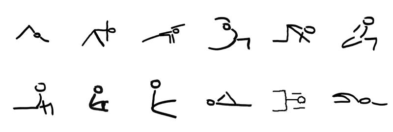 yoga serie heupopeners stick figures
