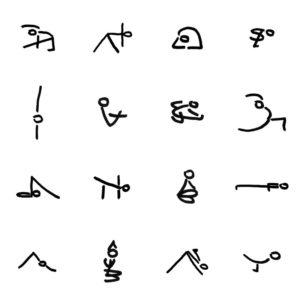 yogahoudingen tekenen stick figures